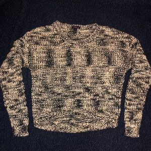 Material Girl black and tan cropped sweater